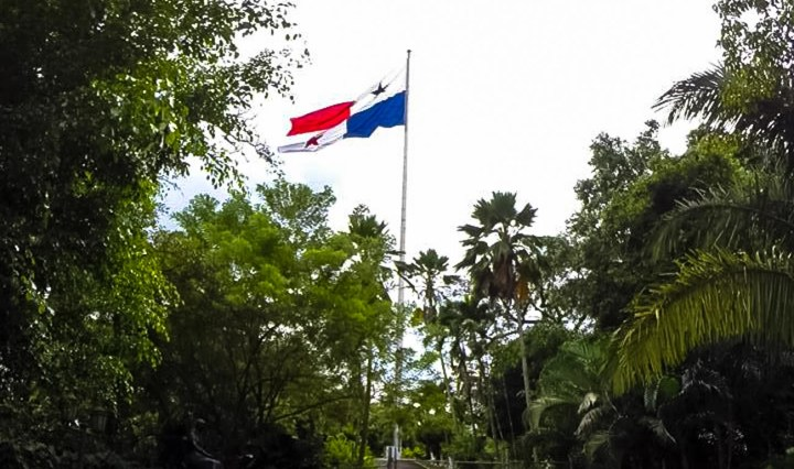 A basketball court sized Panamanian Flag stands at the top of Ancon Hill.
