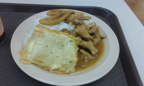 Chicken Lasagna, Chicken in Gravy, Rice, and Plantains for $5.75