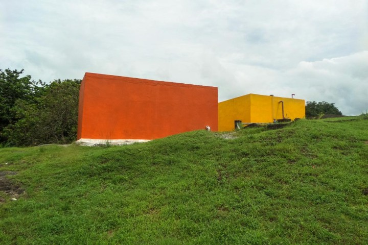 Reserve water tanks built by the charity Footprint Possibilities to help insure that Panama City's indigenous community has access to 24/7 clean water.