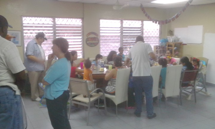 Kiwanis members serve breakfast to the residents of Hogar Rosa Virginia