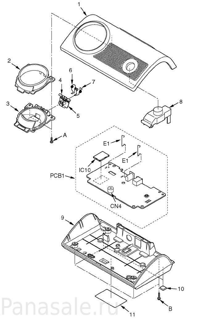 Запасные части для радиотелефона KX-TG8105RU, трубка KX