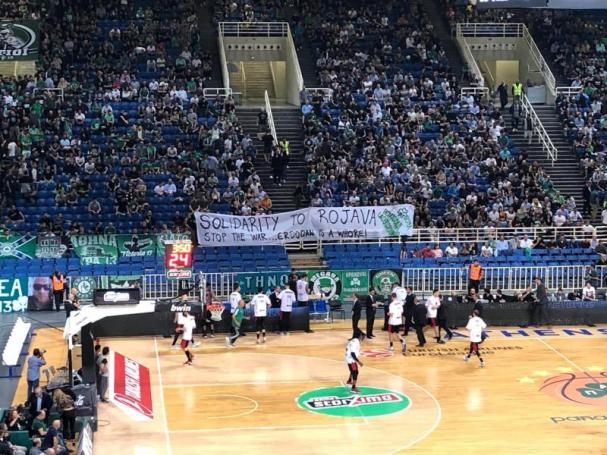 «Πράσινο» πανό στήριξης στον κουρδικό λαό (pic) | panathinaikos24.gr