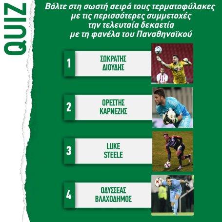 Το κουίζ της ΠΑΕ για τους πράσινους τερματοφύλακες με τις περισσότερες συμμετοχές (pic) | panathinaikos24.gr