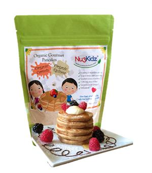 Organic Gourmet Pancake Mix with Carrots and Quinoa in resealable packet