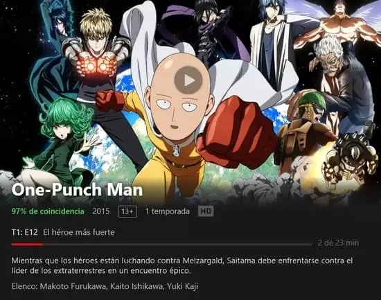 puedes ver la primera temporada de One Punch disponible en Netflix