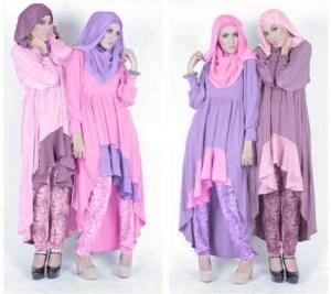 Baju-dan-Busana-Muslim-Modern-Terbaru-5-Warna-Pink-Muda-dan-Ungu-Muda-dengan-celana-Batik
