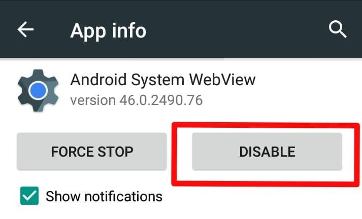 Android system webview app disable