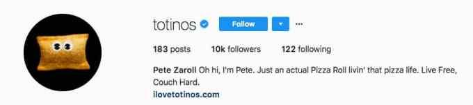 bio profil totinos pizza dengan sentuhan humor