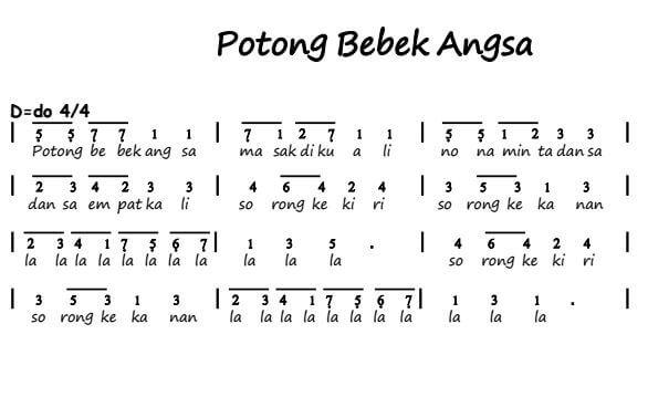 not lagu potong bebek angsa
