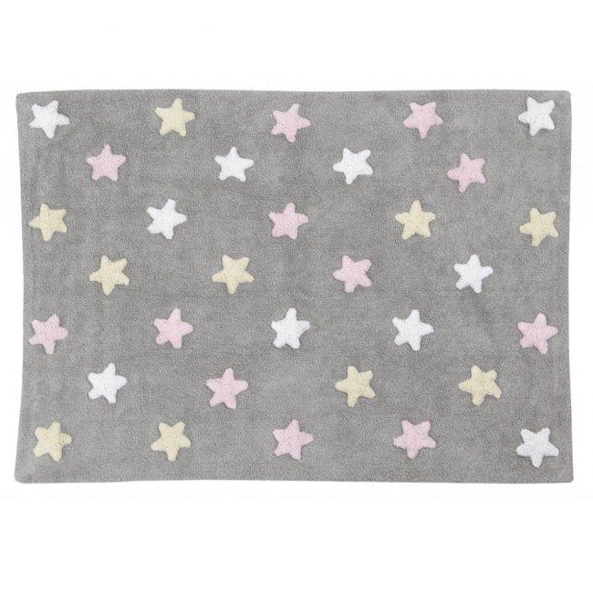 Lorena Canals Kinderteppich stars Grau,Pink,weiss,gelb
