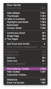 Select Show Markup Toolbar from the View menu.