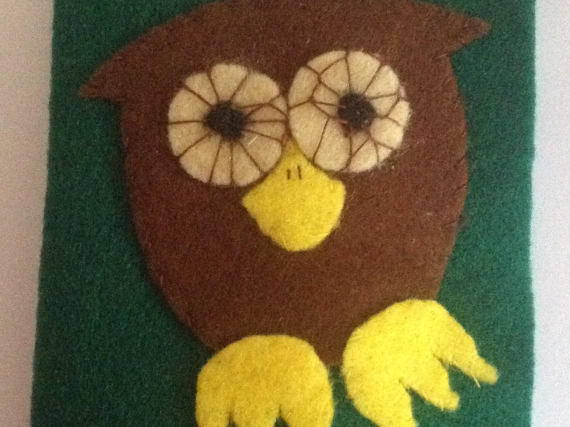 handmade owl needle case