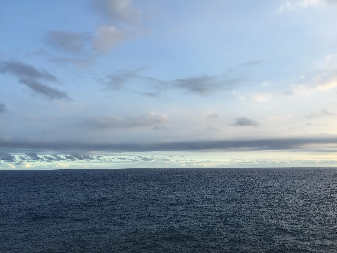 looking across the Pacific Ocean towards Lō`ihi