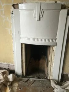 fire surround, ready for removal
