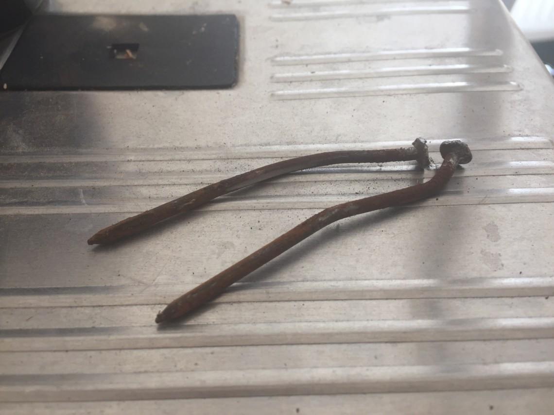 long, rusty nails