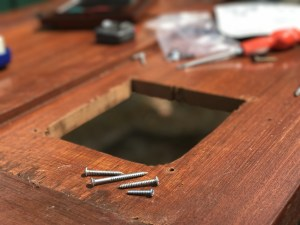 screws, hole in door