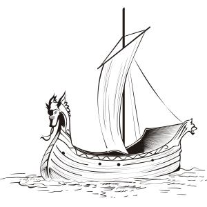 Barco vikingo - Ilustración en vectores