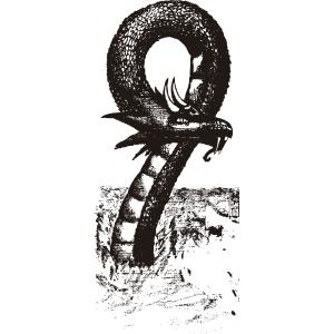 Dragón marino en blanco y negro - Ilustración en vectores