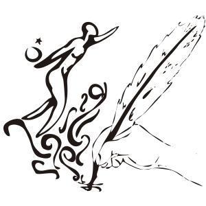 Mano sosteniendo una pluma - Ilustración en vectores