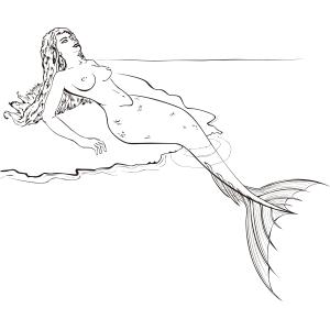 Sirena tomando el sol en blanco y negro - Ilustración en vectores