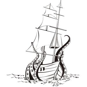 Kraken en blanco y negro - Ilustración en vectores