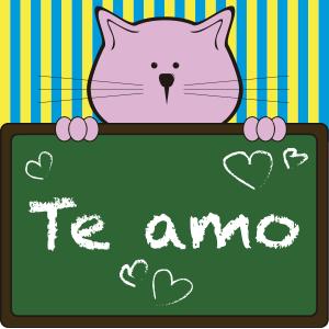 Gato con pizarrón que dice te amo - Ilustración en vectores