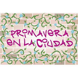 Graffiti que dice primavera en la ciudad - Ilustración en vectores