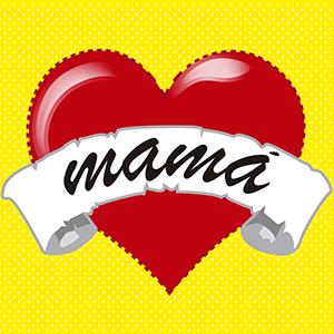 Corazón que dice mamá - Ilustración en vectores