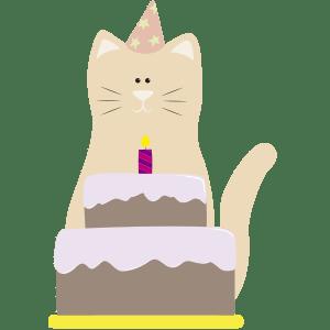 gato con pastel y gorro de cumpleaños