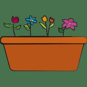 Maceta con flores de colores