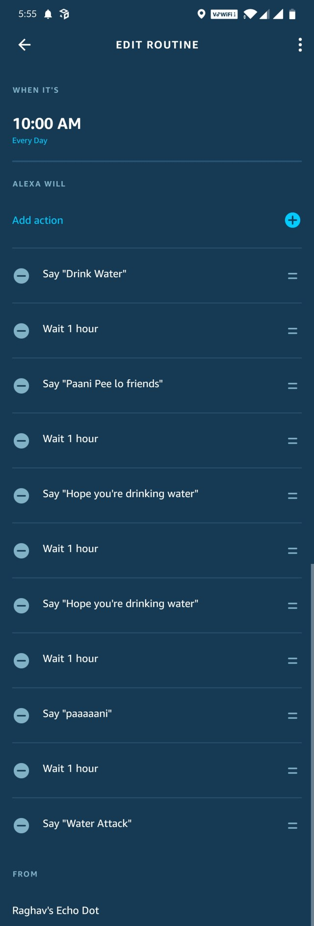 Stay hydrated reminders on Amazon Echo dot