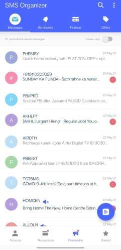 Screenshot of SMS Organizer Promotions tab
