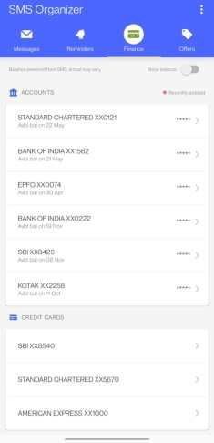 Screenshot of SMS Organizer Finance tab