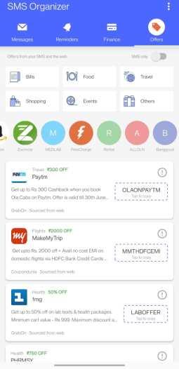 Screenshot of SMS Organizer offers tab