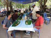 Lunch served on banana leaves