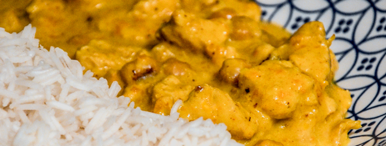 Pollo al curry e riso basmati