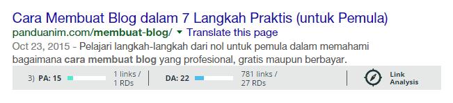 Hasil pencarian setelah instalasi MozBar