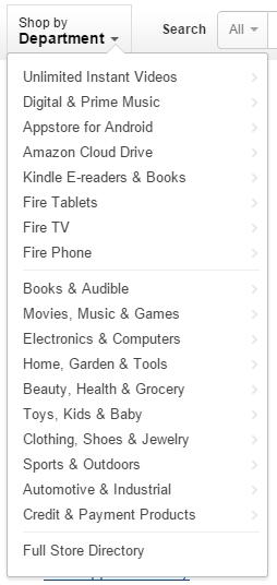 Kategori di Amazon