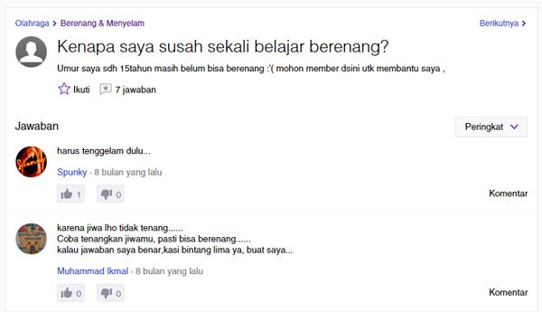 Yahoo Aswer Berenang