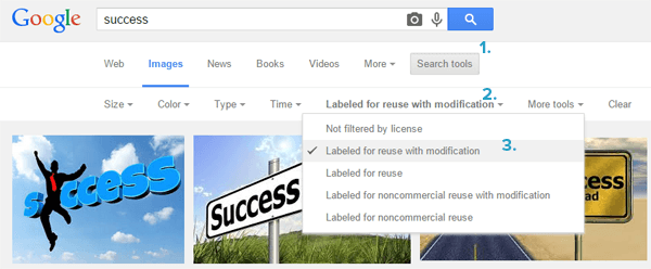 Mencari gambar yang boleh digunakan