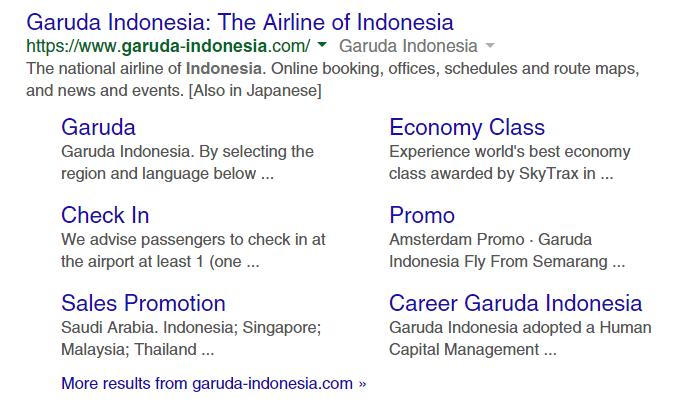 Sitelinks Garuda Indonesia