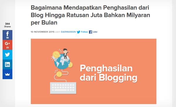 Jumlah share artikel blogging