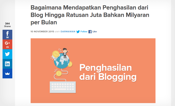 Jumlah share artikel blogging