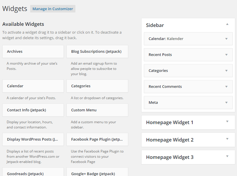 Halaman widget wordpress