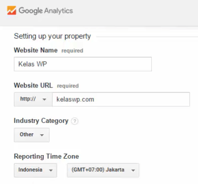 Informasi website di Analytics