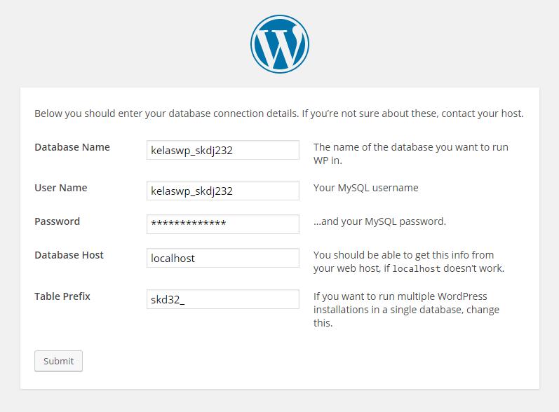 Instalasi WordPress tahap akhir