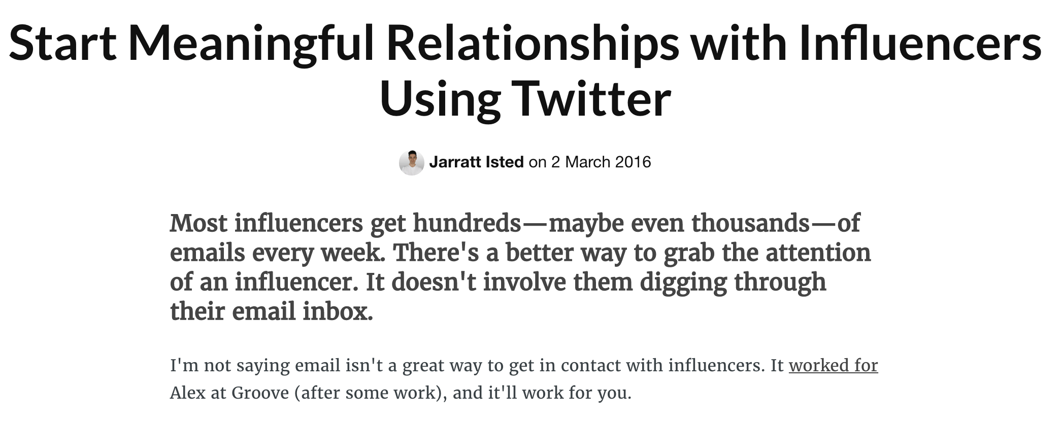 Building relationship with Twitter