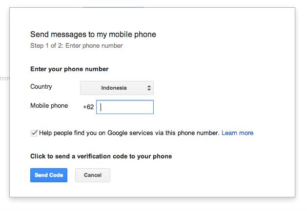 Nomor Verifikasi SMS - Hangouts