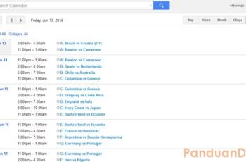 Piala Dunia 2014, Google Calendar, Jadwal Piala Dunia