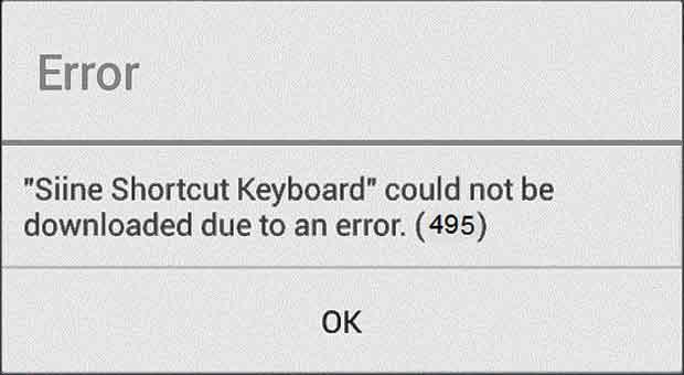 error 495, Play Google error, Download error